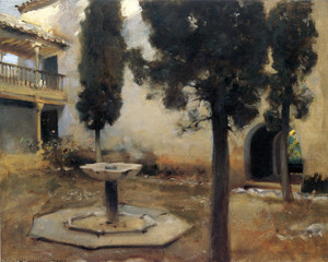 Art Prints of Alhambra, the Patio of the Wrought Iron Grille by John Singer Sargent