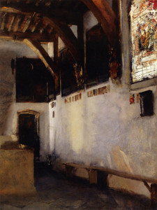 Art Prints of Interior with Stained Glass Window by John Singer Sargent