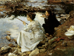 Art Prints of Two Girls Fishing by John Singer Sargent