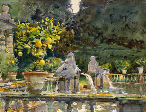 Art Prints of Villa di Marlia a Fountain by John Singer Sargent