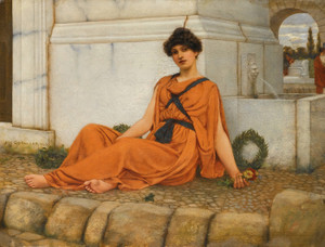 Art Prints of Repose, the Flower Girl by John William Godward