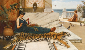 Art Prints of The Tigerskin (girl sewing) by John William Godward