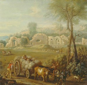 Art Prints of Haycart Passing a Ruined Abbey by John Wootton