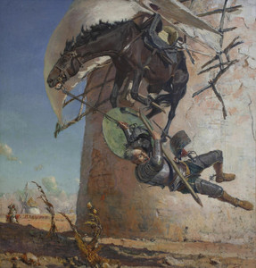 Art Prints of Don Quixote and the Windmills by Jose Moreno Carbonero