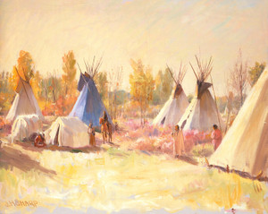 Art Prints of The Blue Teepee by Joseph Henry Sharp