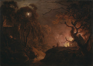 Art Prints of Cottage on Fire at Night by Joseph Wright of Derby