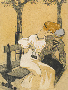 Art Prints of Man and Woman on a Bench by Juan Gris