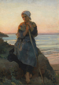 Art Prints of Shepherdess in Douarnenez by Jules Breton