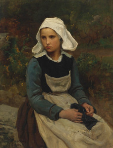 Art Prints of Young Brittany Girl Knitting by Jules Breton