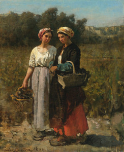 Art Prints of Two Young Women Picking Grapes by Jules Breton