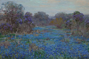 Art Prints of Field of Bluebonnets with Trees by Julian Onderdonk