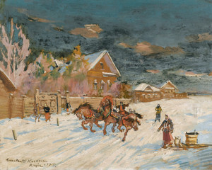 Art Prints of Winter landscape by Konstantin Alexeevich Korovin