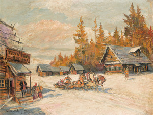 Art Prints of Winter Sleigh Ride by Konstantin Alexeevich Korovin