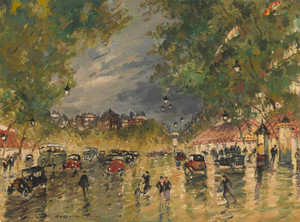 Art Prints of Paris Boulevard by Night by Konstantin Alexeevich Korovin