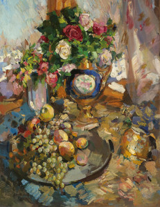 Art Prints of Still Life with Roses and Fruit by Konstantin Alexeevich Korovin