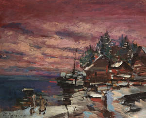 Art Prints of Village in Winter by Konstantin Alexeevich Korovin