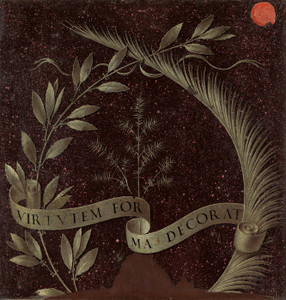 Art Prints of Wreath of Laurel Palm and Juniper with a Scroll by Leonardo da Vinci