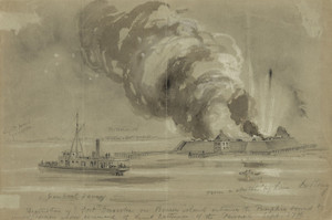 Art Prints of Destruction of Fort Ocracoke on Beacon Island (22809L) by Le Rony