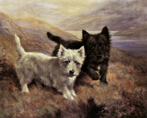 Art Prints of A Westie and a Scottish Terrier in a Landscape by Lilian Cheviot