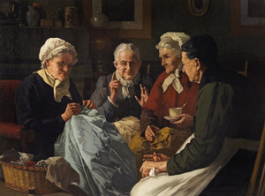 Art Prints of The Sewing Circle by Louis Charles Moeller