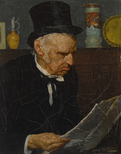 Art Prints of Old Man Reading the Paper by Louis Charles Moeller