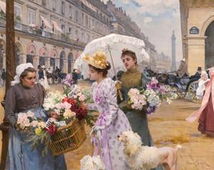 Art Prints of The Flower Market Rivoli Street by Louis Marie de Schryver