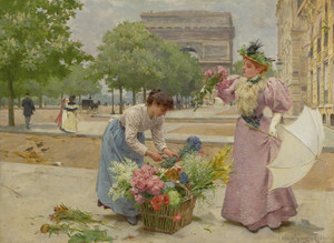 Art Prints of The Flower Seller on the Champs Elysees II by Louis Marie de Schryver