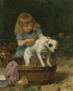 Art Prints of Bath Day by Louis Marie de Schryver