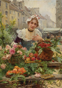Art Prints of The Flower Seller II by Louis Marie de Schryver