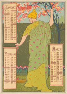 Art Prints of Poster Calendar, 1897, January, February, March (43207L) by Louis Rhead