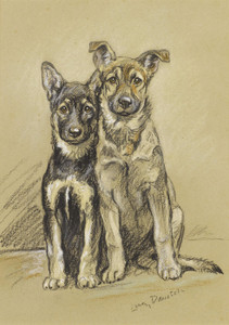 Art Prints of Julie and Sandy Alsatian Puppies by Lucy Dawson