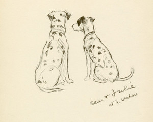 Art Prints of Scar and Julie at the Window, Dalmatians by Lucy Dawson