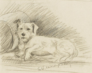 Art Prints of Too Hot, Cannot Sit Up Today, Terrier by Lucy Dawson