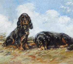Art Prints of Waiting for Master Spaniel and Collie by Lucy Dawson
