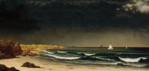 Art Prints of Approaching Storm Beach near Newport by Martin Johnson Heade