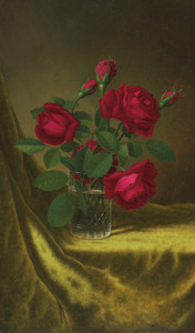 Art Prints of Still Life with Flowers, Red Roses by Martin Johnson Heade