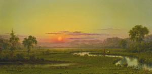 Art Prints of Two Fishermen in the Marsh at Sunset by Martin Johnson Heade