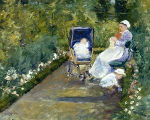 Art Prints of Children in a Garden or The Nurse by Mary Cassatt