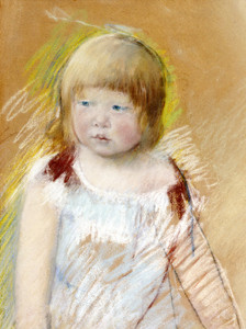 Art Prints of Child with Bangs in a Blue Dress by Mary Cassatt