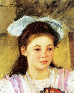 Art Prints of Ellen Mary Cassatt with a Large Bow in Her Hair by Mary Cassatt