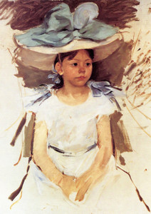Art Prints of Ellen Mary Cassatt in a Big Blue Hat by Mary Cassatt