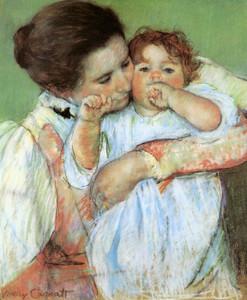 Art Prints of Mother and Child, Little Anne Sucking Her Finger by Mary Cassatt