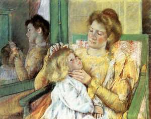 Art Prints of Mother Combing Her Child's Hair by Mary Cassatt