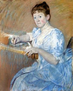 Art Prints of Mrs. Alexander Cassatt in a Blue Evening Gown by Mary Cassatt