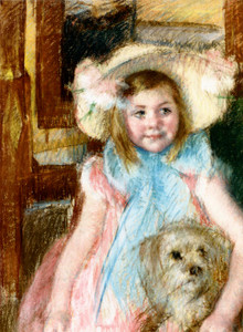 Art Prints of Sara in a Large Flowered Hat Looking Right by Mary Cassatt