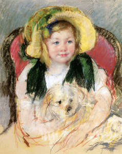 Art Prints of Sara with Her Dog in an Armchair, Wearing a Bonnet by Mary Cassatt