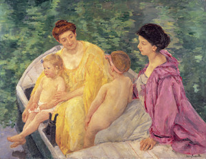 Art Prints of The Swim or Two Mothers and Their Children on a Boat by Mary Cassatt