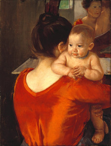 Art Prints of Woman in a Red Bodice with Her Child, 1901 by Mary Cassatt