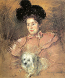 Art Prints of Woman in Raspberry Costume Holding a Dog by Mary Cassatt