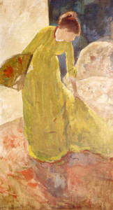 Art Prints of Woman Standing Holding a Fan, 1878 by Mary Cassatt